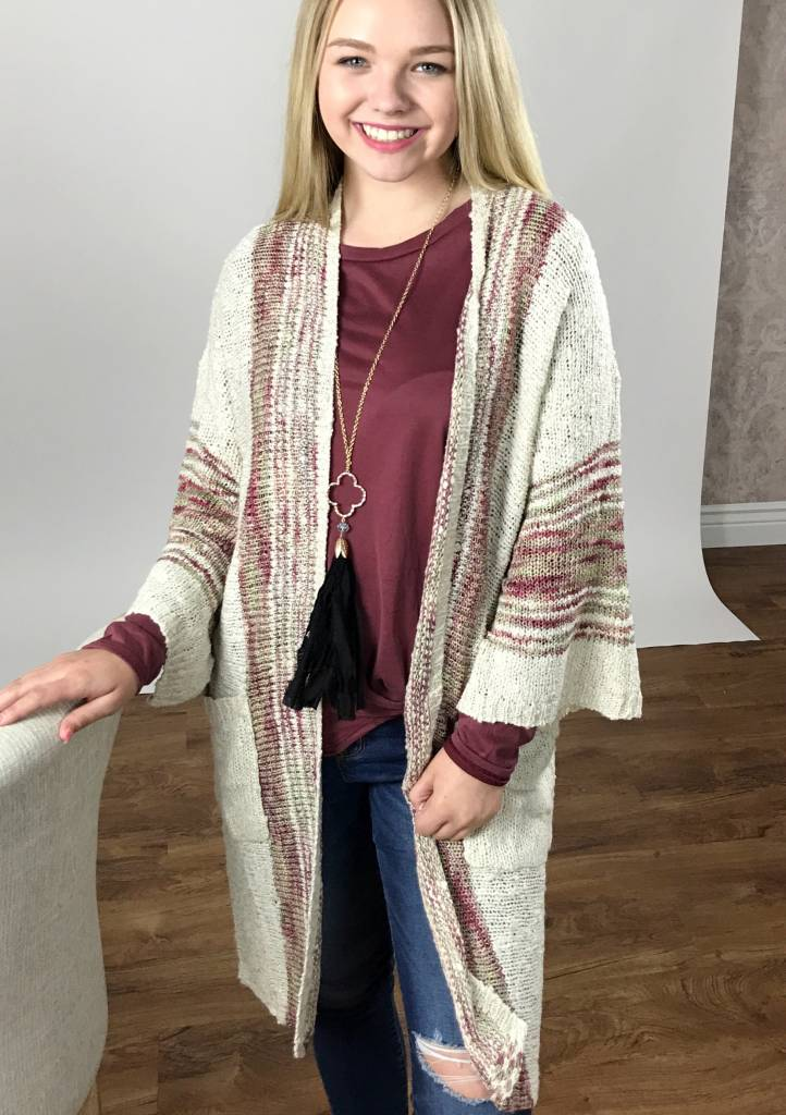 Oatmeal Mix Open Front Cardigan