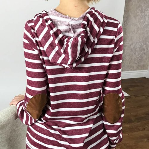 Burgundy Striped Hooded Pullover with Elbow Patches