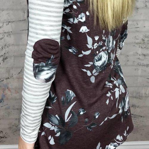 Burgundy Floral Grey Stripe Sleeve Top