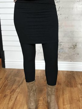 Black Leggings With Attached Skirt