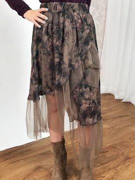 Ash / Brown Mix Mesh Layered Skirt