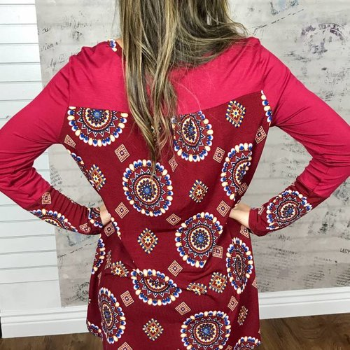 Burgundy Long Sleeve Top with Geometric Back