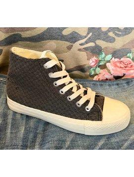 Charcoal Crochet Canvas Shoes