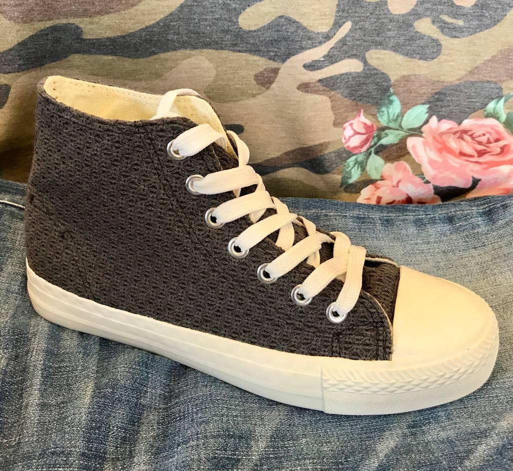 Charcoal Crochet Canvas Shoes- SALE ITEM