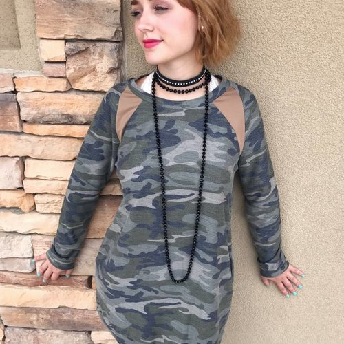 Camouflage Tunic with Suede Elbow Patches