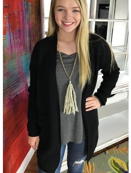 Black Pocket Cable Knit Cardigan