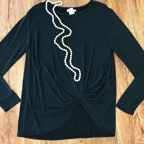 Black LS Knotted Top