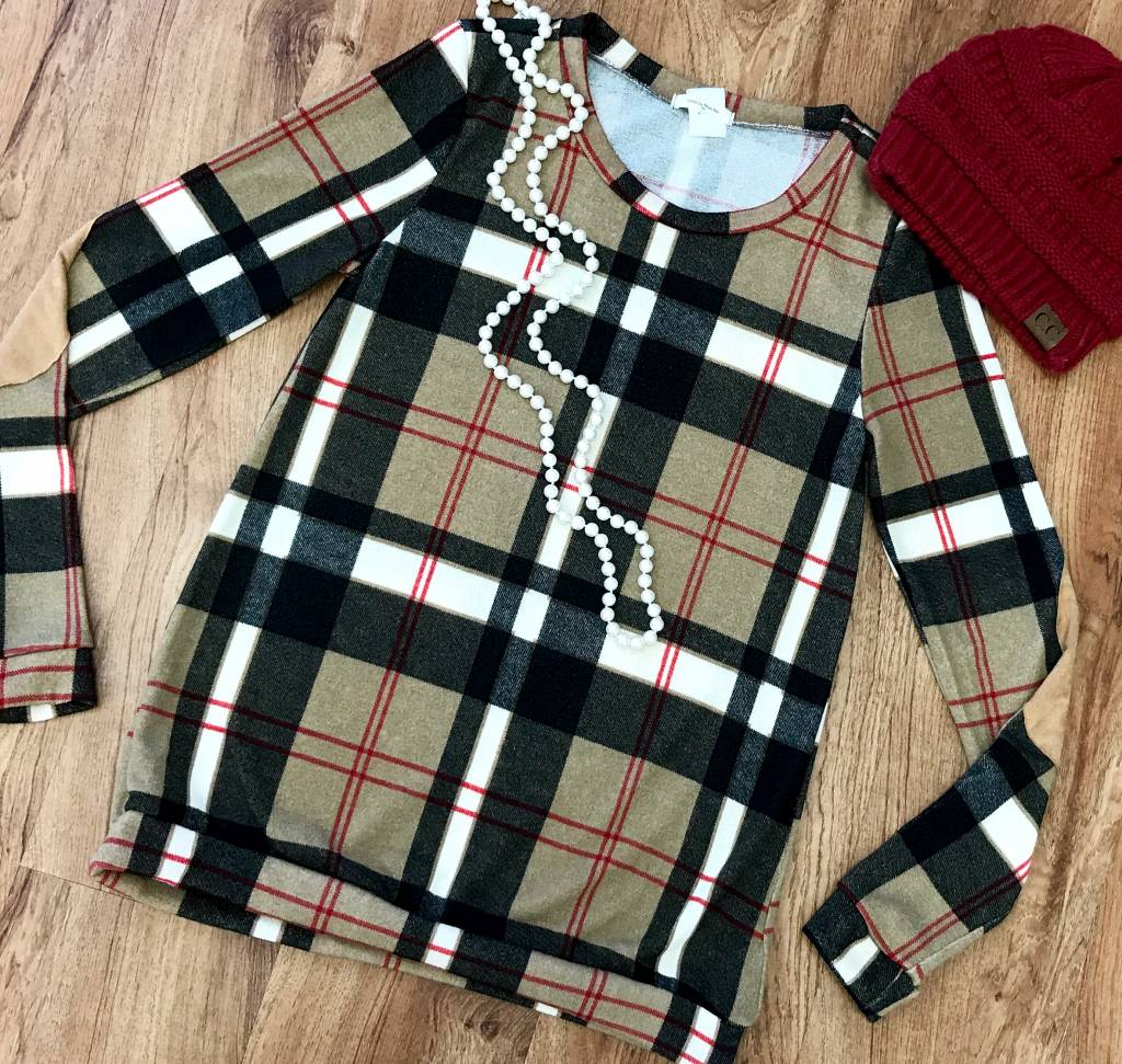 Camel Plaid Sweater with Elbow Patches