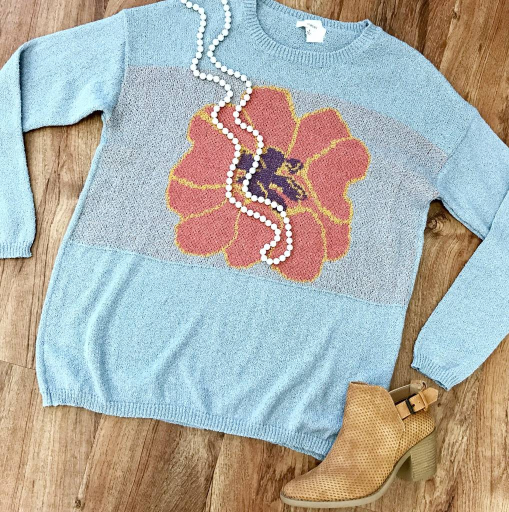 Heather Grey Sweater with Flower