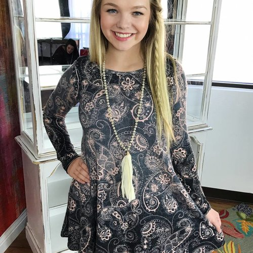 Navy/Blush Paisley Dress with Elbow Patches