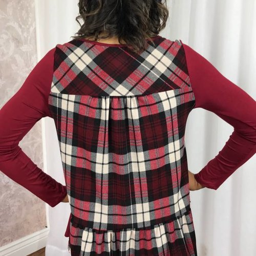 Burgundy LS Top With Plaid Back Contrast