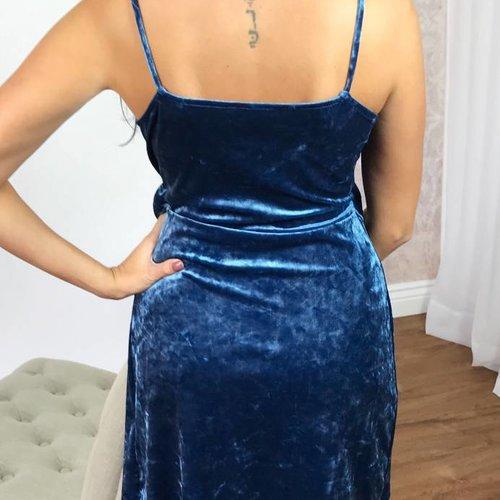 Blue Velvet V-Neck Bow Dress