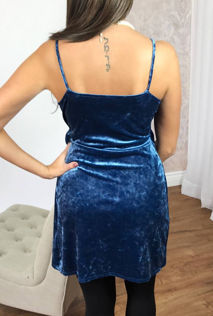 Blue Velvet V-Neck Bow Dress