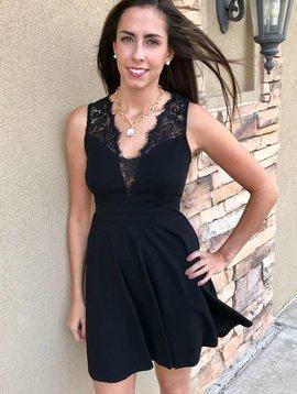 Black Lace Shoulder & V-Neck Dress