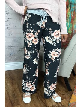 Black Floral Drawstring Lounge Pants