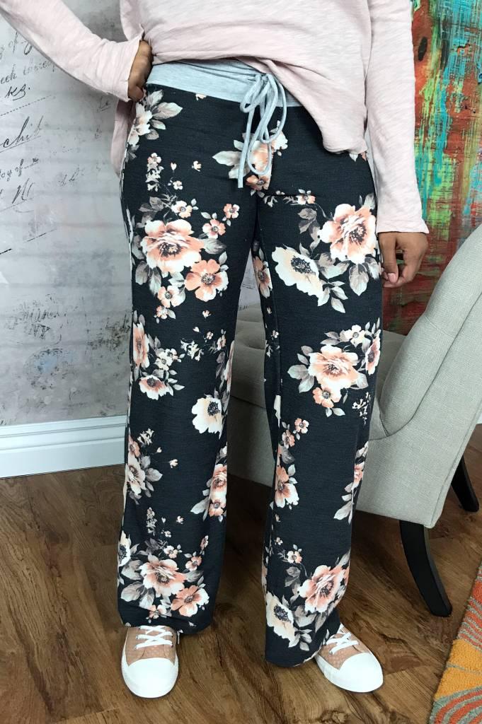 Black Floral Drawstring Lounge Pants- SALE ITEM
