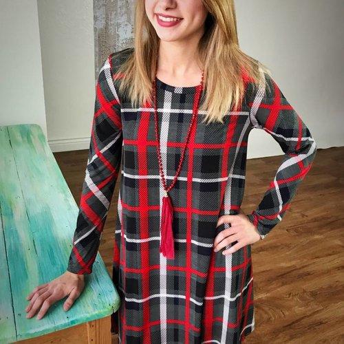 Grey / Red /Navy Plaid Tunic Dress