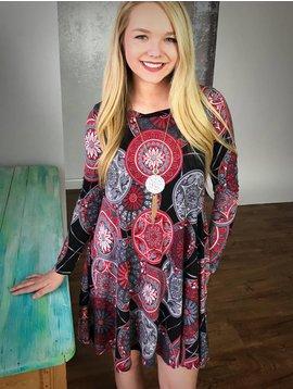 Black / Red / Grey Geo Print Dress