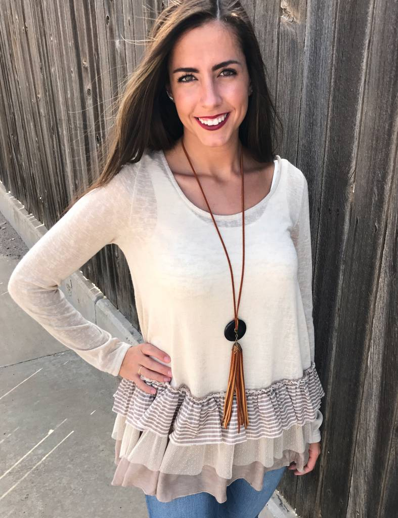Cream Knit Baby Doll Top with Contrast Ruffles