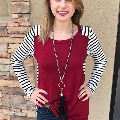 Burgundy & Striped Contrast Top with Elbow Patches