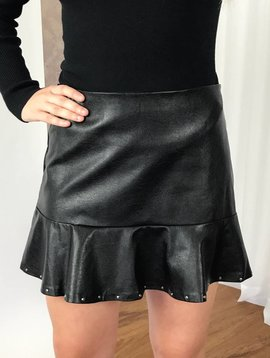 Black High Waist Leather Skirt with Studs and Ruffle-SALE ITEM