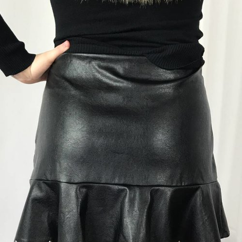 Black High Waist Leather Skirt with Studs and Ruffle