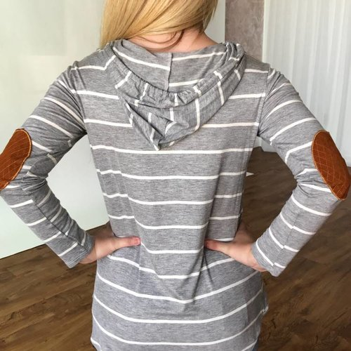 Grey Striped Elbow Patch Hoodie Top