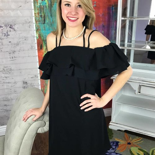 Black Double Layered Ruffle Off Shoulder Dress
