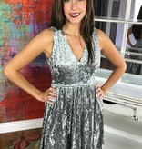 Silver Crushed Velvet V-Cut Dress with Back Cutout