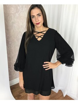 Black Lace Up Dress with Mesh Sleeve and Ruffle