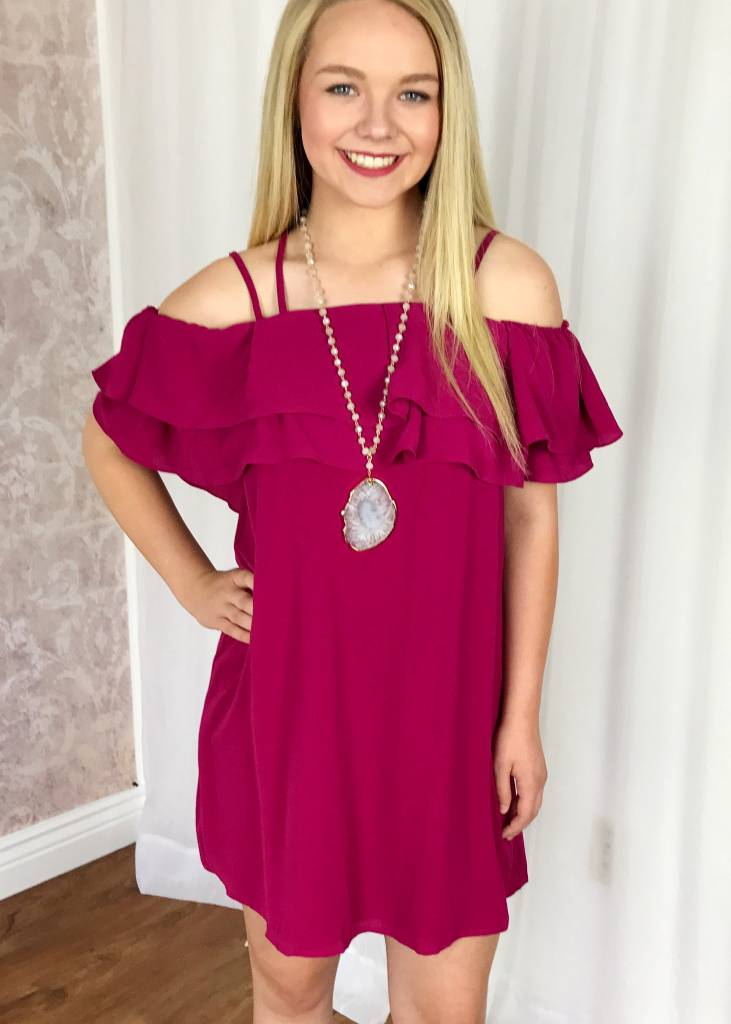 Magenta Double Layered Ruffle Off Shoulder Dress