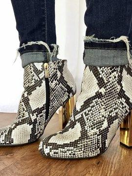 Grayscale Snake Skin Gold Heel Bootie