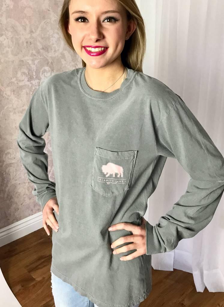 Grey Pastel Watercolor Floral LS T-Shirt