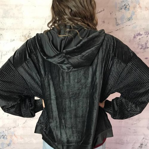 Black Velvet Jacket with Ribbed Detail