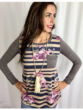 Mocha Striped Top with Floral Accent