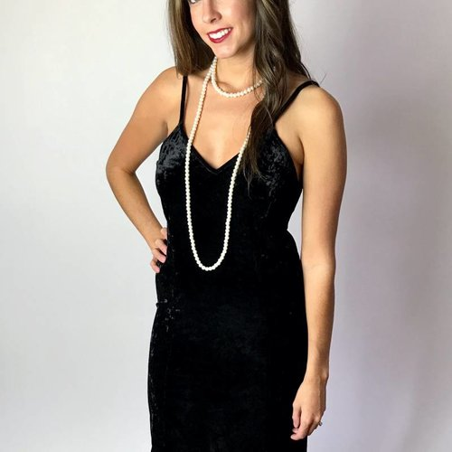 Black Crushed Velvet V-Neck Dress