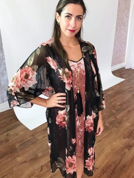 Black Floral Print Sheer Duster