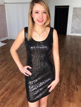 Black Sleeveless Sequin Mini Dress
