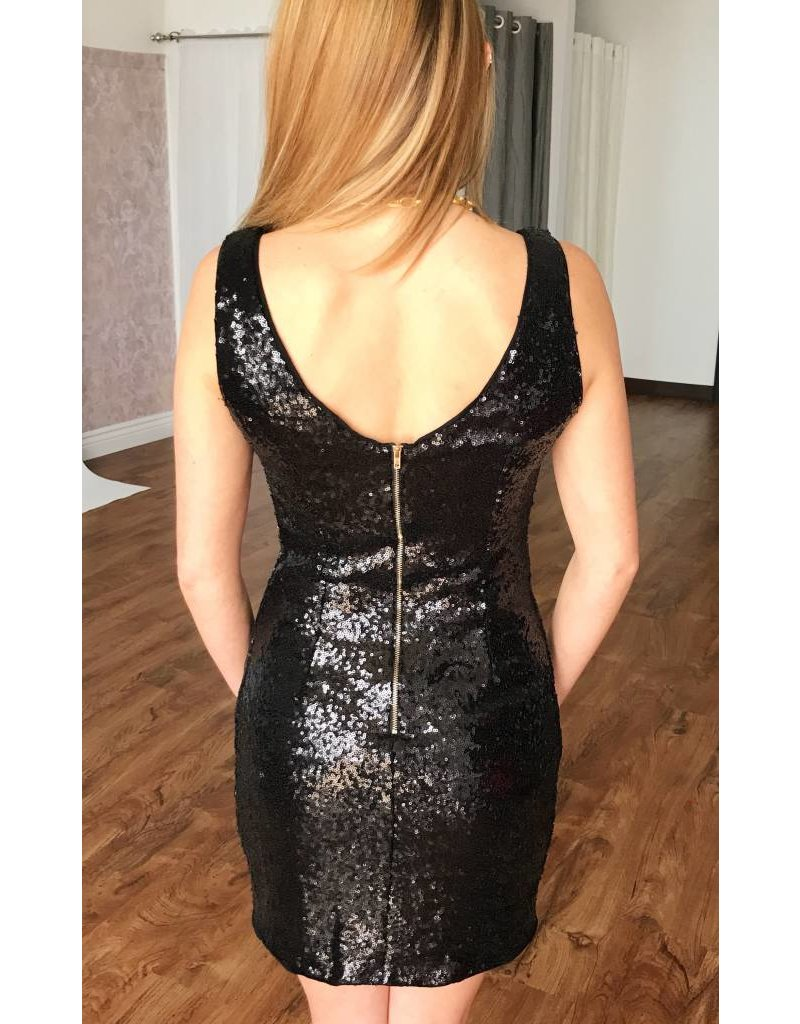 Black Sleeveless Sequin Mini Dress