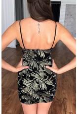 Black Velvet Gold Embroidered Spaghetti Strap Dress