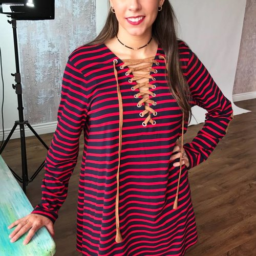 Navy/Red Striped Lace Up Dress and Elbow Patches