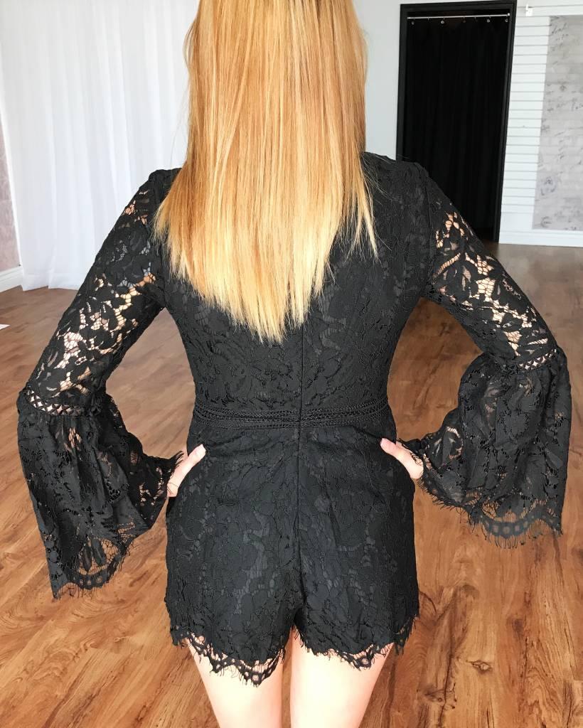 Black Flare Sleeve Lace Romper