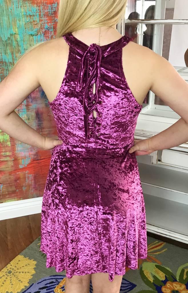 Wine Velvet Halter Neck Dress with Lace Up Back