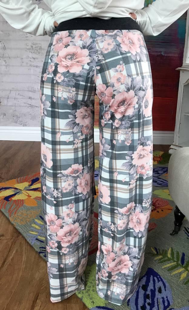 Plaid Floral Sweat Pants- SALE ITEM