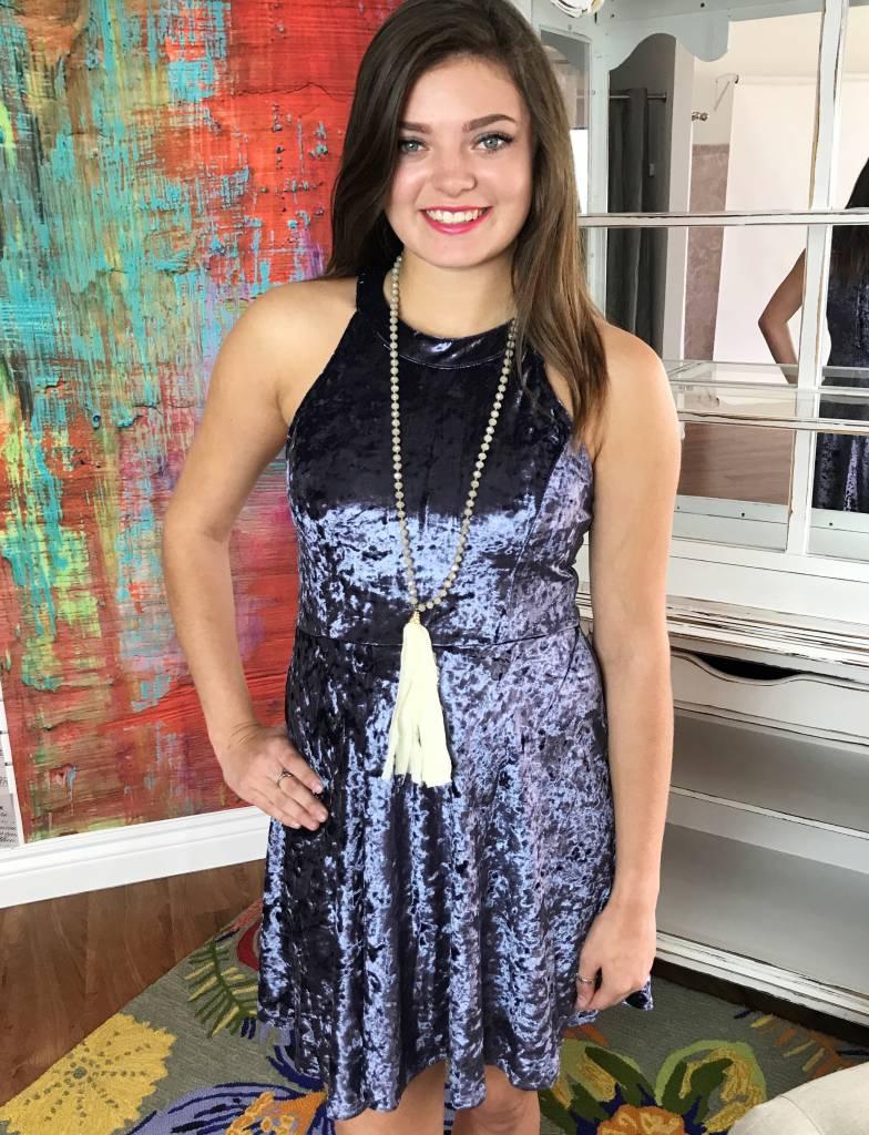 Charcoal Velvet Halter Neck Dress with Lace Up Back