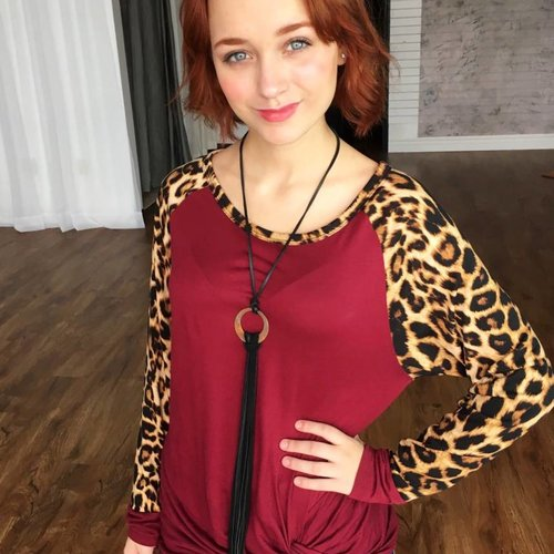 Burgundy Knotted Top with Leopard Long Sleeves