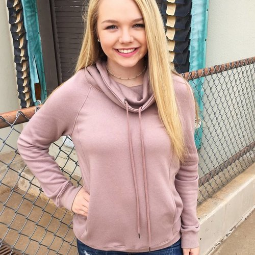 Dusty Mauve Hooded Cowl Neck Sweater