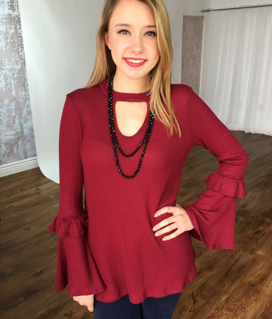 Burgundy Ribbed Bell Sleeve Keyhole Top