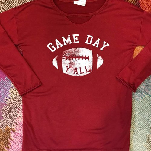 Burgundy GAME DAY Keyhole Top