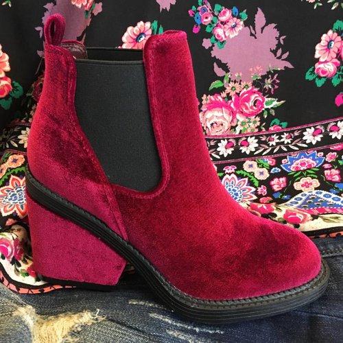 Bright Burgundy Velvet Heel Bootie